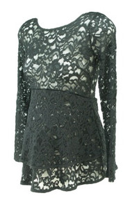 Black A Pea in the Pod Maternity Sheer Lace Double Layer Peplum Long Sleeve Maternity Blouse (Gently Used - Size Small)