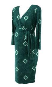Versatile Emerald Green A Pea in the Pod Maternity Diamond Print Wrap Maternity Dress (Size Small)