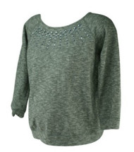 Heather Gray Motherhood Maternity Embellished Long Sleeve Maternity Sweater (Gently Used - Size Medium)