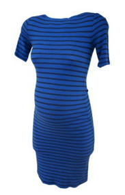 Cobalt Blue BCBG by Maxazria Maternity Short Sleeve Striped Maternity Dress (Gently Used - Size Small)