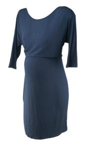 Slate Blue Milk Nursing Wear Maternity Scoop Neck Casual Nursing Dress (Gently Used - Size Small)