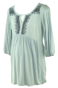 Baby Blue A Pea in the Pod Maternity Beaded Babydoll Maternity Top (Like New - Size Small)