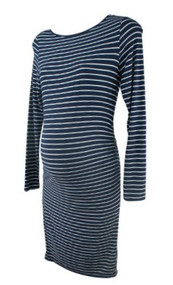 Navy Striped A Pea in the Pod Maternity Casual Ruched Maternity Dress (Gently Used - Size Small)