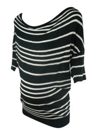 Black A Pea in the Pod Maternity Striped 3/4 Sleeve Knit Maternity Top (Gently Used - Size Medium)