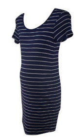 Navy Striped A Pea in the Pod Maternity Scoop Neck Ribbed Straight Maternity Dress (Gently Used - Size Small)