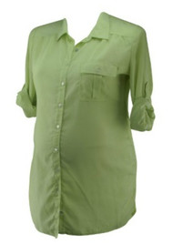 Lime Green Jessica Simpson Maternity Button Down Maternity Blouse (Gently Used - Size Large)