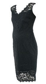 Black Marina Lace V-Neck Special Occasion Dress (Like New - Size Medium)