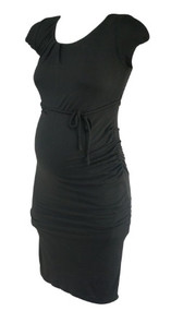 Black A Pea in the Pod Maternity Side Pleated Short Sleeve Dress (Gently Used - Size Small)