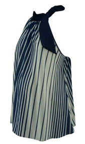White and Navy Striped Firmiana Maternity Wearable Sleeveless Neck Maternity Blouse (Like New - Size Medium)