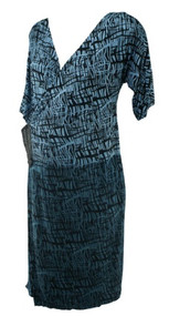 Blue and Black Etched Print A Pea in the Pod Maternity Faux Wrap Dress (Like New - Size Medium)