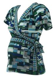 Green BCBG Maxazria Maternity Geometric Print Wrap Tie Maternity Top (Like New - Size Small)