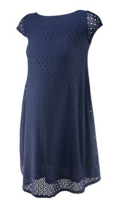 Navy Ingrid & Isabel Maternity Lace Eyelit Short Sleeve Maternity Shift Dress (Like New - Size X-Small)