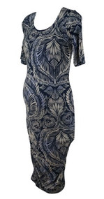 White A Pea in the Pod Maternity Paisley Print Neck 3/4 Sleeve Ruched Maternity Dress (Like New - Size Small)