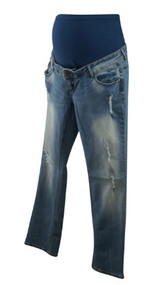 Light Wash Bandia Maternity Straight Leg Destructed Maternity Jeans (Gently Used - Size 6)