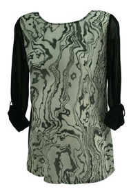 *New* Black and White A Pea in the Pod Sheer Printed Long Sleeve Maternity Blouse (Size Medium)