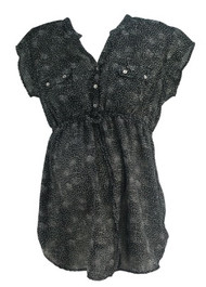 Black Motherhood Maternity Polk-A-Dot Cinched Chiffon Maternity Babydoll Top (Gently Used - Size Large)