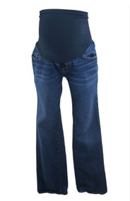 Dark Wash Indigo Blue Maternity Straight Leg Maternity Jeans (Gently Used - Size Large)