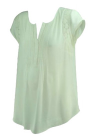 White A Pea in the Pod Maternity Lace Design Career Maternity Blouse (Like New - Size Large)