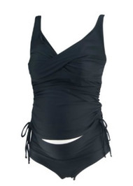 Black Maternal America Maternity 2 Piece Knot Tie Ruched Maternity Swimsuit (Like New - Size Small)