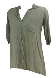 *New* Ash Taupe A Pea in the Pod Collection Maternity Casual V-Neck Maternity Blouse with Adjustable Sleeves (Size Medium)