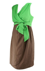 *New* Green and Brown Suzi Chin for Maggy Boutique for A Pea in the Pod Maternity Collection  Maternity Dress (Size Small)
