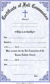 Full Communion Form Certificate - Style #170 - F.C ...