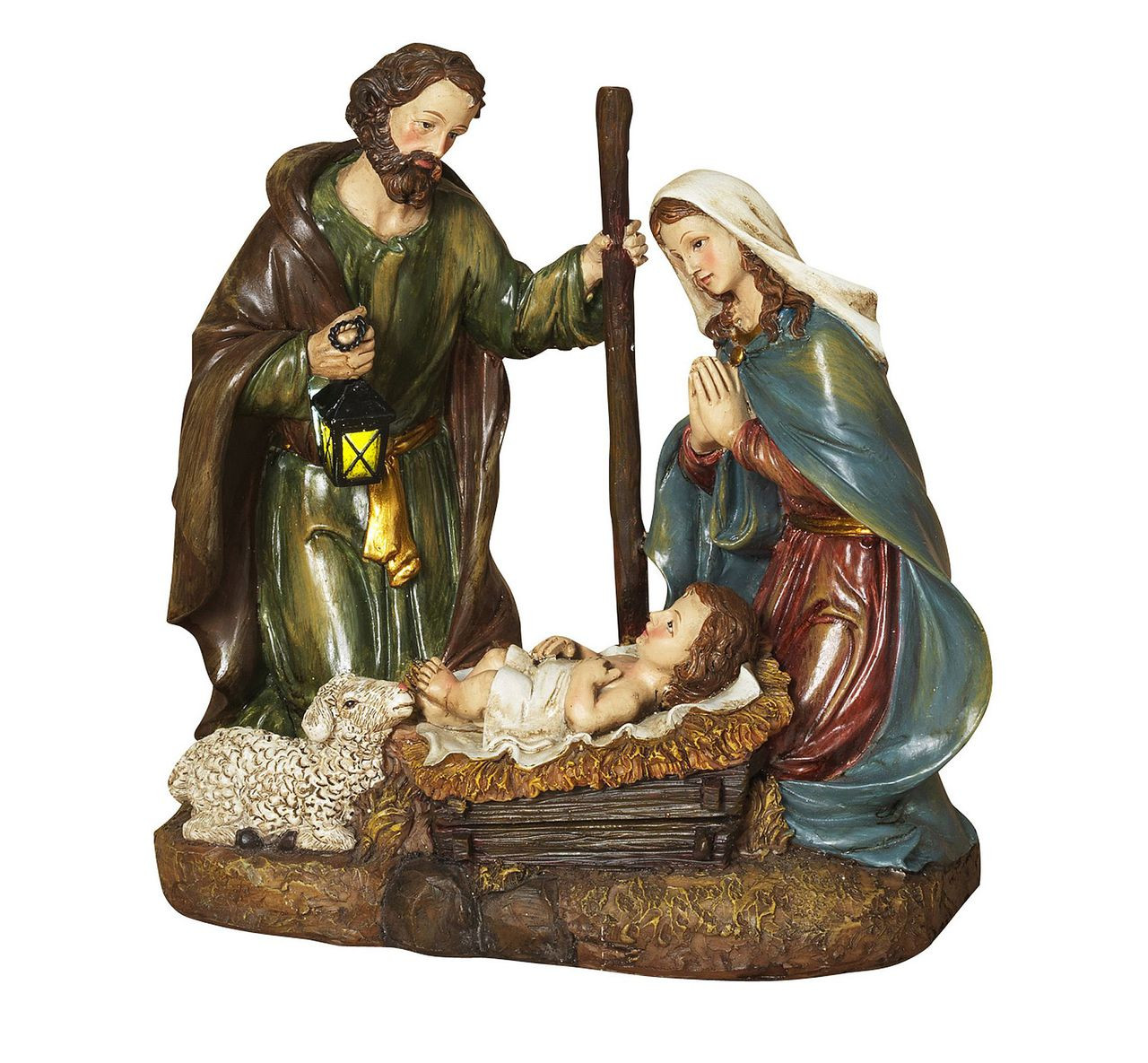 Holy Family Admires Jesus Nativity Religious Christmas: Manger Nativity Scene