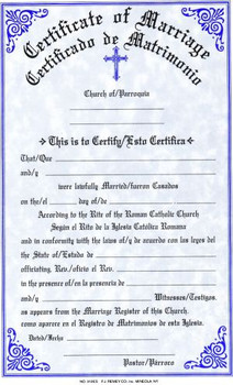 Marriage Forms Certificate - Bilingual - Style #312 - F.C ...