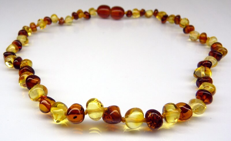 bi-color amber teething necklace