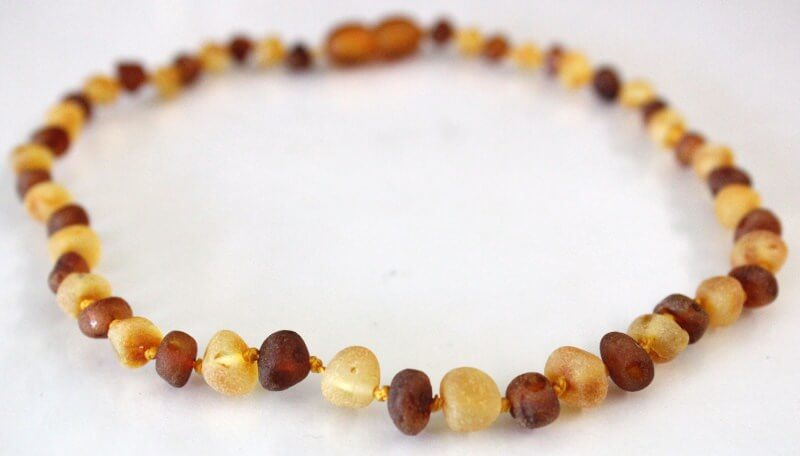 bi-color raw amber teething necklace