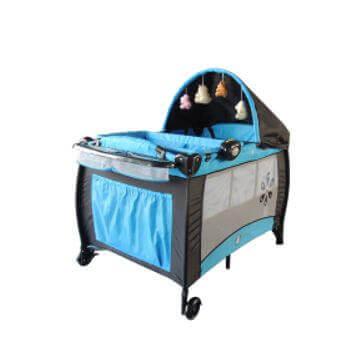 portable travel cot blue