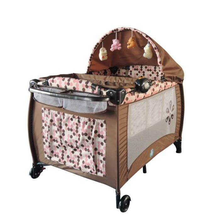 portable travel cot brown