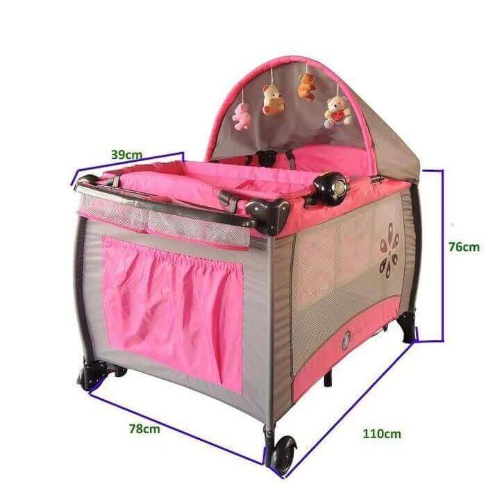 portable travel cot pink