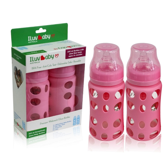 ILuvBaby 240ml Wide-neck Glass Baby Bottles 2 pack - Pink