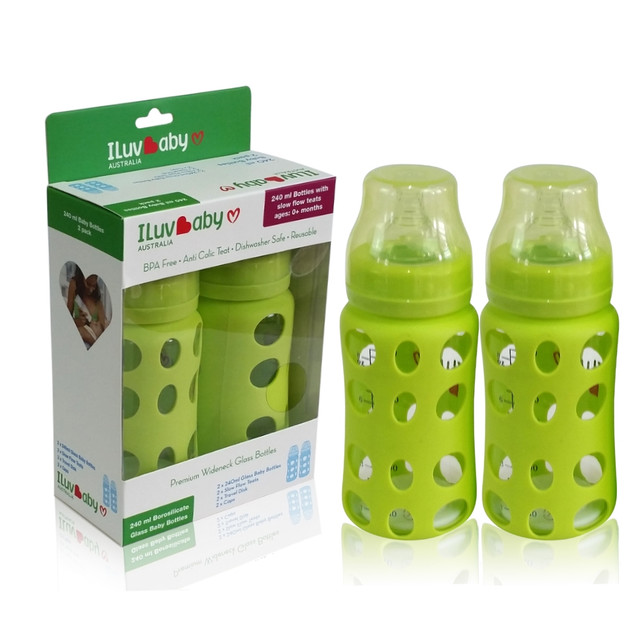 ILuvBaby 240ml Wide-neck Glass Baby Bottles 2 pack - Green