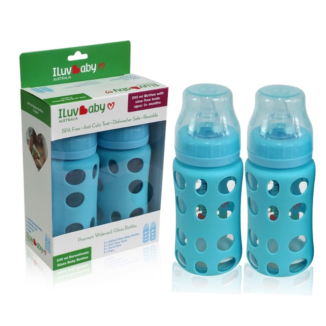 ILuvBaby 240ml Wide-neck Glass Baby Bottles 2 pack - Blue