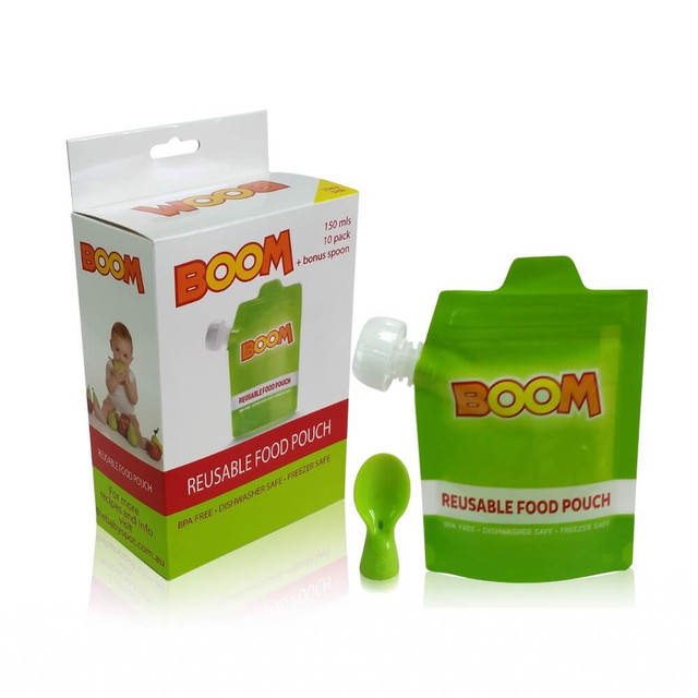 BOOM Reusable Food Pouch 10 PK with Bonus Spoon