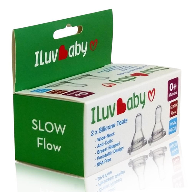 ILuvBaby Teats for Wide Neck Bottles - Slow Flow - 2 Pack