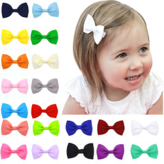 Baby Girl Hair Clips - Mini Bow - 20 pack with Girl Model