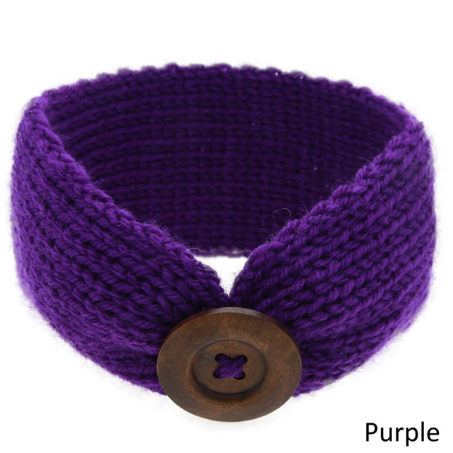 Baby Knitted Headband Head Wrap - Purple