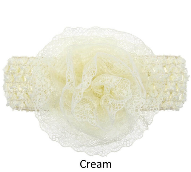 Baby Lace Flower Headband - Wide Elastic Band - Cream
