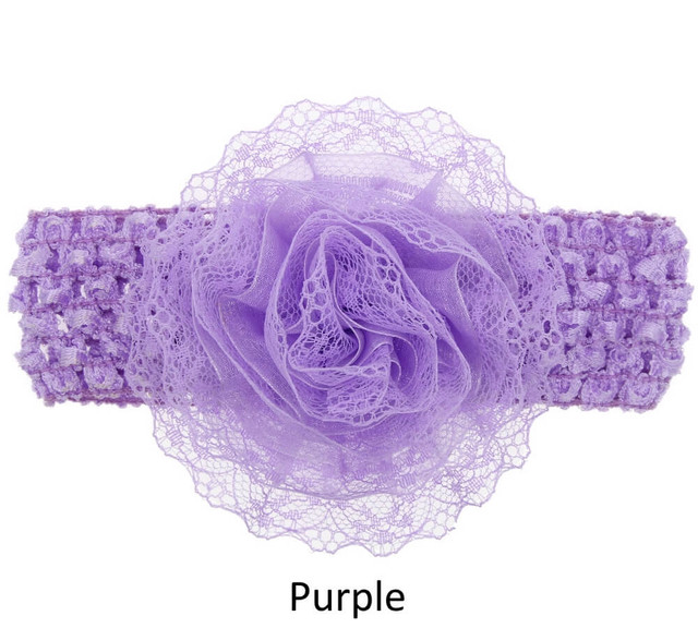 Baby Lace Flower Headband - Wide Elastic Band - Purple