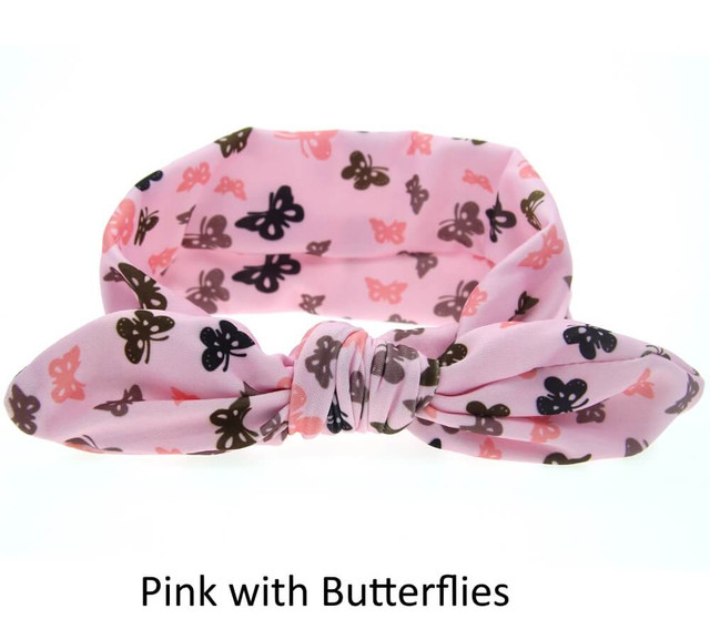 Baby Bunny Ears Headband - Pink with Butterflies