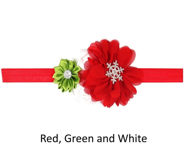 Baby 4 Flower Crown Headband - Red, Green and White