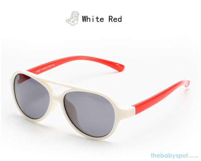 Kids Bendable Oval Polarized Sunglasses - Whited/Red