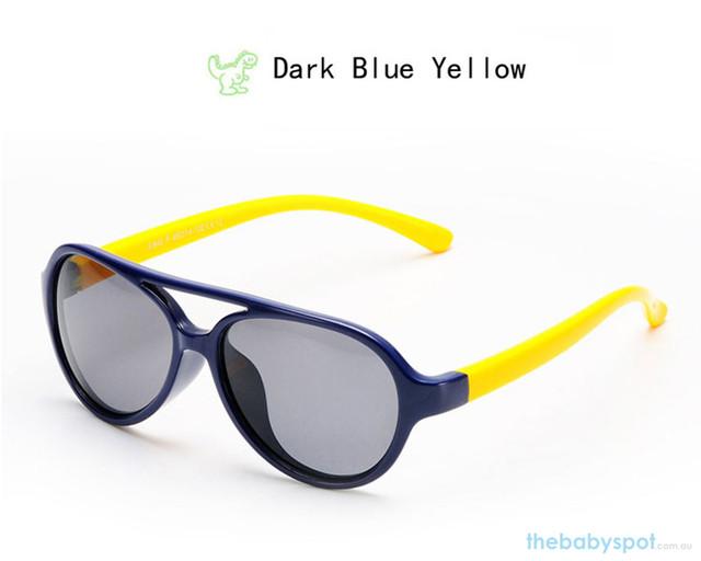 Kids Bendable Oval Polarized Sunglasses - Dark Blue/Yellow