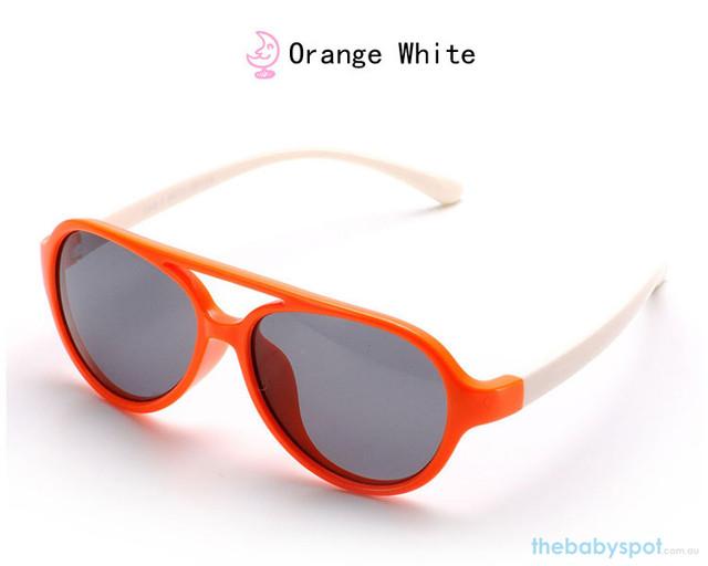 Kids Bendable Oval Polarized Sunglasses - Orange/White