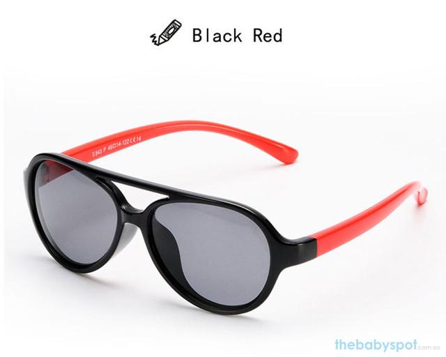 Kids Bendable Oval Polarized Sunglasses - Black/Red