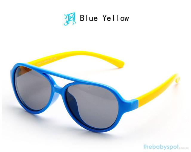 Kids Bendable Oval Polarized Sunglasses - Blue/Yellow