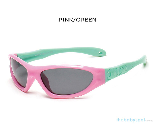Kids Bendable Outdoor Sport Sunglasses  - Pink/Green
